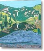Lower Cataract Lake And Cataract Creek Falls Metal Print