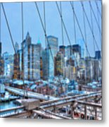 Lower East Side At Dusk From The Brooklyn Bridge Metal Print