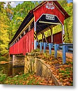 Lower Humbert Covered Bridge 2 - Paint Metal Print
