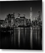Lower Manhattan From The Brooklyn Piers Metal Print by Dick Wood
