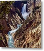 Lower Yellowstone Falls And River Metal Print