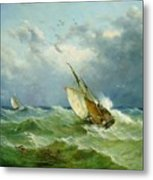 Lowestoft Trawler In Rough Weather Metal Print by John Moore