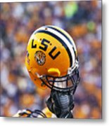 Lsu Helmet Raised High Metal Print by Louisiana State University