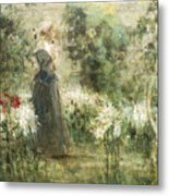 Luca Postiglione Napoli 1876 - 1936 The White Fleurs-de-lis Metal Print