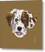 Lucky Brown Mixed Breed Metal Print