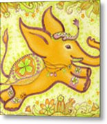 Lucky Elephant Orange Metal Print