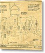 Lucy The Elephant Building Patent Blueprint  Metal Print