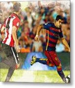 Luis Suarez Takes The Ball Past Athletic Bilbao's Eneko Boveda A Metal Print