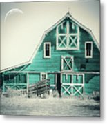 Luna Barn Teal Metal Print