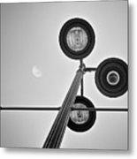 Lunar Lamp In Black And White Metal Print