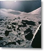 Lunar Rover At Rim Of Camelot Crater Metal Print by NASA / Science Source