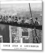 Lunch Atop A Skyscraper, By Lego Metal Print