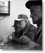 Lunch Counter Boys - Black And White Metal Print