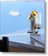 Lunch Over Santorini Metal Print