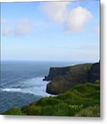Lush Green Grass Along The Top Of The Cliffs Of Moher Metal Print