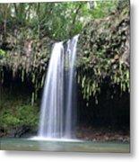 Lush Tropical Waterfall Twin Falls On Maui Hawaii Metal Print
