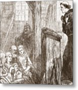 Luther Preaching In The Old Wooden Church At Wittemberg Metal Print