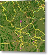 Luxembourg Green Traffic Map, Abstract Europe Map Metal Print