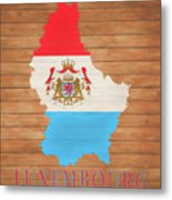 Luxembourg Rustic Map On Wood Metal Print