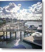 Luxury Boats Moored At Naples Island, Long Beach, Ca Metal Print