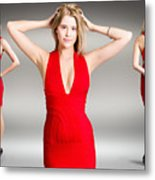 Luxury Female Fashion Model In Classy Red Dress Metal Print
