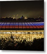 Luzhniki Stadium At Summer Night Against The Background Of The Ministry Of Foreign Affairs, The Cath Metal Print