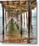 Lynnhaven Fishing Pier, Pillars To The Sea Metal Print