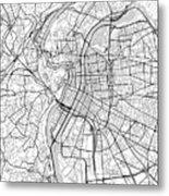 Lyon France Light Map Metal Print