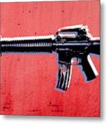 M16 Assault Rifle On Red Metal Print