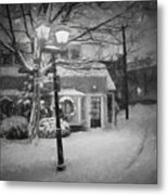 Mablehead Market Square Snowstorm Old Town Evening Black And White Painterly Metal Print