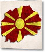 Macedonia Map Art With Flag Design Metal Print