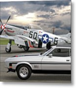 Mach 1 Mustang With P51  Metal Print