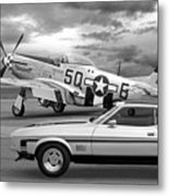 Mach 1 Mustang With P51 In Black And White Metal Print