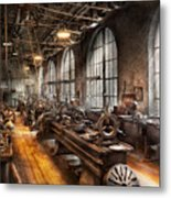 Machinist - A Room Full Of Lathes  Metal Print by Mike Savad