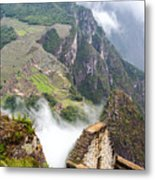 Machu Picchu And Fog Metal Print