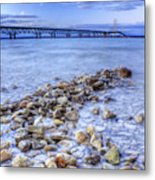Mackinac Bridge From The Beach Metal Print by Twenty Two North Photography