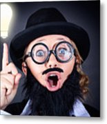 Mad Professor With Light Bulb Breakthrough Metal Print