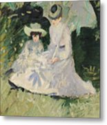 Madame Helleu And Her Daughter At The Chateau Of Boudran Metal Print by Paul Cesar Helleu