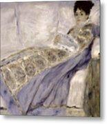 Madame Monet On A Sofa Metal Print by Pierre Auguste Renoir