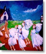 Madeleine's Red Shoes Metal Print