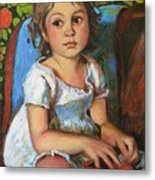 Madeline And The White Dress Metal Print