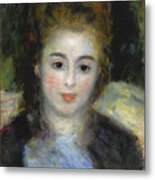 Mademoiselle Henriot Or Young Girl With A Blue Ribbon Metal Print