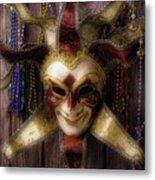 Madi Gras Mask And Beads Metal Print