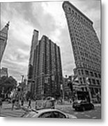 Madison Square Flatiron And Clock Tower New York Ny Black And White Metal Print