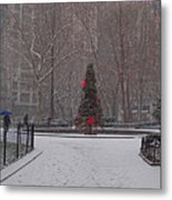 Madison Square Park In The Snow At Christmas Metal Print