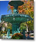Madison Water Fountain In Fall Metal Print