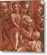 Madonna And Child Accompanied By Saints Metal Print