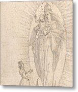 Madonna And Child Appearing To A Supplicant Metal Print