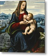 Madonna And Child Before A Landscape Metal Print