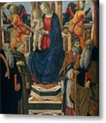 Madonna And Child Enthroned With Saints And Angels Metal Print